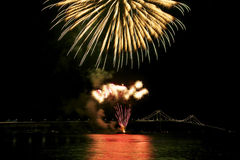 Newport bridge. In Rhode Island at night Stock Image