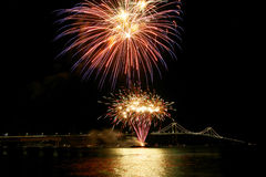 Newport bridge. In Rhode Island at night Stock Photography