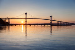 Newport Bridge Sunrise Stock Image