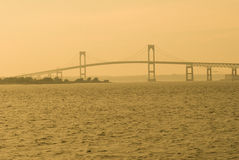 Newport Bridge At Sunset stock photo