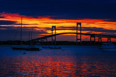The Newport Bridge at Sunset, Newport, RI. Royalty Free Stock Image
