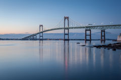 Newport Bridge at Twilight. This is a long exposure morning image of the Newport Bridge from Taylor Point near Jamestown, Rhode Island, USA stock photos