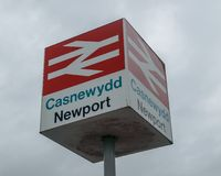 Newport British Rail sign against cloudy sky royalty free stock photos