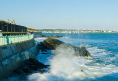 Newport Cliff Walk Surf royalty free stock photo