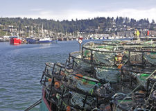 Newport Docks. Crabpots and commercial fishing boats at Newport, Oregon, USA on the Pacific Ocean Stock Photography