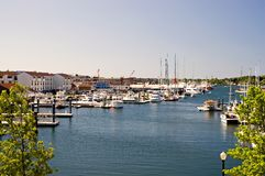 Newport Harbor. A view of the peaceful, popular resort harbor and marina at Newport, Rhode Island on a bright, sunny summer day royalty free stock photos