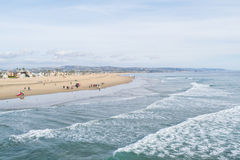 Newport harbor beach with waves Stock Image