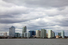 Newport/Jersey City skyline. Skyline of Newport, Jersey City, NJ on the Hudson River shore Stock Photography