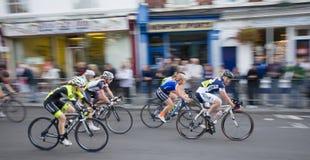 Newport Nocturne 2012. Britain's best flood lit road bicycle race Women's race stock image