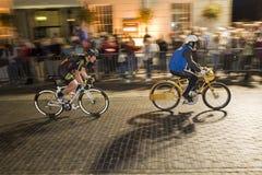 Newport Nocturne 2012. Britain's best flood lit road bicycle race Derny race stock image