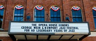 Newport operahus på Touro St Newport, RI Royaltyfri Fotografi