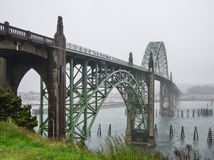 Newport, Oregon bridge in the fog Royalty Free Stock Image