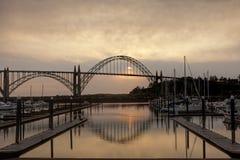 Newport, Oregon bridge at sunet. Stock Images