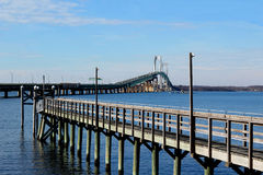 Newport Pell bridge with pier Royalty Free Stock Photo