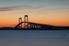 Newport Bridge Sunset Royalty Free Stock Photos