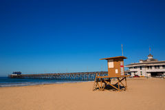 Newport pier beach with lifeguard tower in California Royalty Free Stock Images