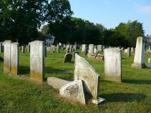 Newport Rhode Island Cemetery. Many of these slate stones were carved in the 1600-1700. These historic artifacts from the Colonial times in New England are also stock image