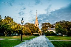 Newport rhode island city streets in the evening royalty free stock photo