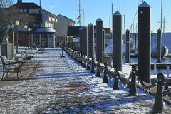 View of Newport Harbour and Wharf in winter. royalty free stock photo
