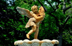 Newport, RI: Cupid Statue at Rosecliff Mansion Royalty Free Stock Photo