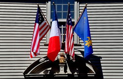 Newport, RI: Flags at 1748 Hunter House Royalty Free Stock Photo