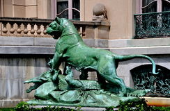 Newport, RI: Lion Statue at The Elms Mansion Royalty Free Stock Photography