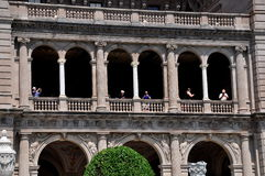 Newport, RI: People on Loggia at The Breakers Mansion Royalty Free Stock Images