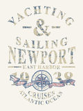 Newport yachting and sailing. Grunge vector artwork for boy t shirt in custom colors stock illustration