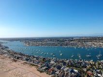 Newport zatoka i balboa półwysep obraz royalty free