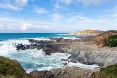 Newquay海岸康沃尔郡一点Fistral和尼姑小海湾的英国英国 免版税库存照片
