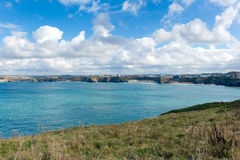 Newquay Bay Cornwall England UK blue sky and sea Stock Photos