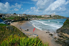 Newquay beach, Cornwall, England. View of Newquay beach in Cornwall, England Royalty Free Stock Photo