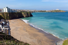 Newquay beach North Cornwall UK in spring with blue sky and sea Royalty Free Stock Photo