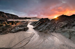 Newquay Beach. Sunset at Lusty Glaze beach at Newquay in Cornwall stock photography