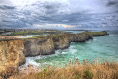Newquay coast view Cornwall England UK with sea and clouds in HDR Stock Photography