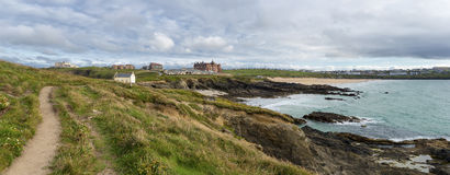 Newquay in Cornwall. A panoramic view of the coastal town of Newquay in Cornwall taken from the Towan Headland and looking toward Fistral Beach famous for its Royalty Free Stock Photo