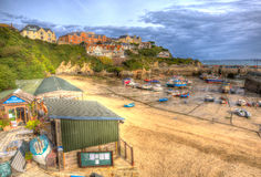 Newquay harbour North Cornwall England UK like a painting in HDR Royalty Free Stock Images