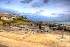 Newquay harbour North Cornwall England UK like a painting in HDR Stock Photo