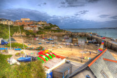 Newquay harbour North Cornwall England UK like a painting in HDR Stock Photos