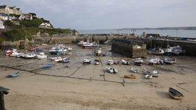 Newquay harbour North Cornwall England UK PAN stock video