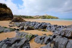 Newquay-Strand Nord-Cornwall Großbritannien in Richtung zum Hafen Stockbild