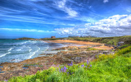 Newquay surfing beach Cornwall uk in colourful hdr with cloudscape Stock Images