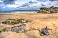 Newquay Towan beach North Cornwall England UK like a painting in HDR Stock Images