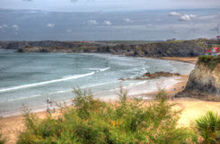Newquay Towan beach North Cornwall England UK like a painting in HDR Royalty Free Stock Photography