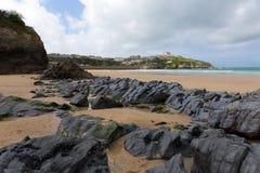 Newquay Towan beach North Cornwall England UK Stock Photo