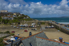 Newquay town and traditional fishing harbor Royalty Free Stock Photography
