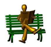 News. 3d golden character reading newspaper in park isolated on white background Royalty Free Stock Image