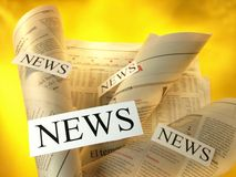 News. Papers and articles, on a yellow background with light sectioned