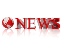 News. The globe and sign on news. 3d illustration over  white backgrounds Stock Photography