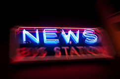News. Neon news or information sign with motion blur